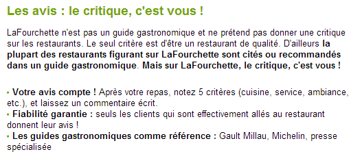 Garantie du site La Fourchette